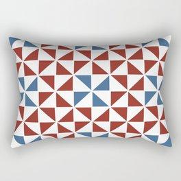 Pinwheel Quilt Pattern in Red and Blue Rectangular Pillow