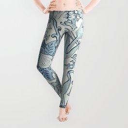 William Morris Beautiful floral pattern, blue,rose,william Morris pattern, art nouveau pattern Leggings
