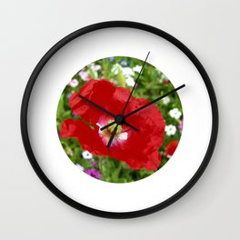 red poppy XII Wall Clock