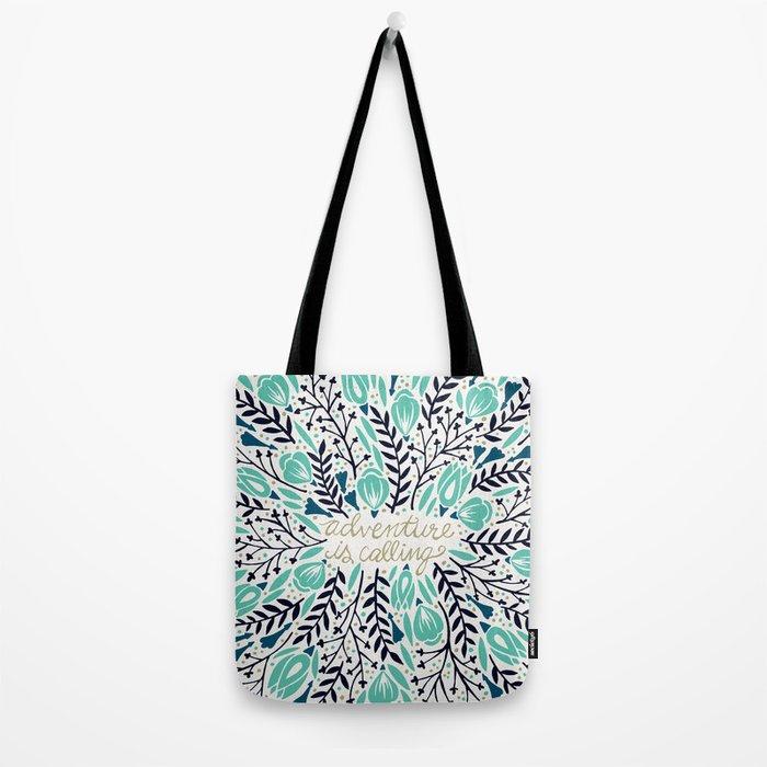 Adventure is Calling – Navy & Mint Palette Tote Bag