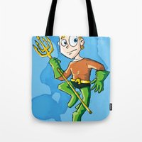 aquaman Tote Bags featuring Aquaman! by neicosta