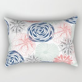 Floral Pattern in Coral Red, Navy Blue and Aqua Rectangular Pillow