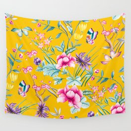 Chinoiserie mustard yellow floral Wall Tapestry