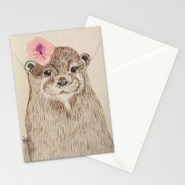 Otter with a flower Stationery Cards