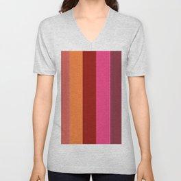Modern girly pink fashion color block stripes Unisex V-Neck