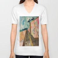 transparent V-neck T-shirts featuring TRANSPARENT WALLS by Matt Schiermeier