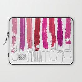 Lipstick Stripes - Floral Fuschia Red Laptop Sleeve