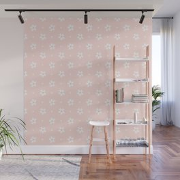 Vintage pastel coral white abstract floral pattern Wall Mural