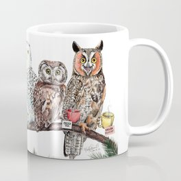 Tea owls , funny owl tea time painting by Holly Simental Coffee Mug