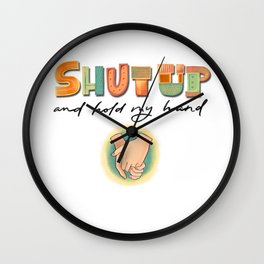 Love lettering message with hands Wall Clock