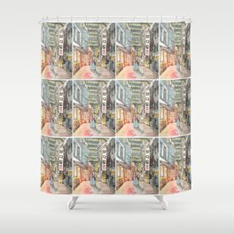 South Korean street cafe  shops illustration with girl in hanbok Shower Curtain
