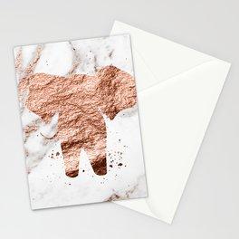 Elephant - rose gold marble Stationery Cards