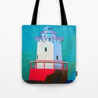 lighthouse Tote Bags featuring Lighthouse by Judy Palkimas