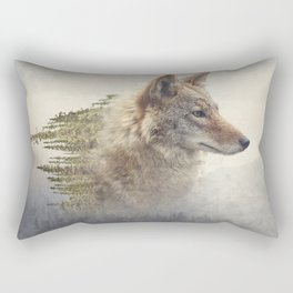 Double exposure of coyote portrait and pine forest on the mountain Rectangular Pillow