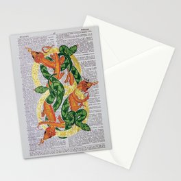 Always  (Dragons and Serpents infinitely entwined around two gold rings on dictionary page) Stationery Cards