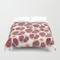 pomegranate Duvet Covers featuring pomegranate by austeja saffron