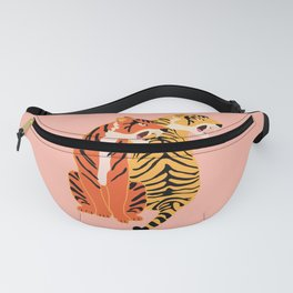 Two tigers, pink background Fanny Pack