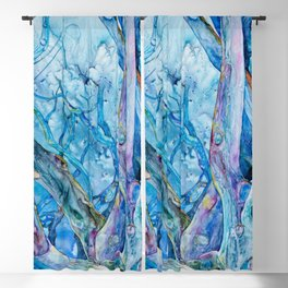 Branching Out in Blue - Wooded Grove of Trees in Blue and Purple Watercolor on Yupo Blackout Curtain