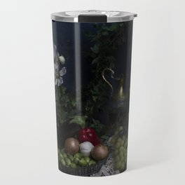 Classic  still life with flowers, fruit, vegetables and wine Travel Mug
