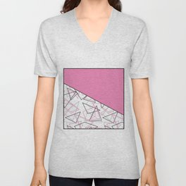 Abstract pink combo pattern . Unisex V-Neck