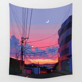 City Moonset Wall Tapestry
