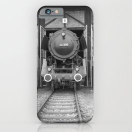 Old steam locomotive in the depot ZUG012CBx Le France black and white fine art photography by Ksavera iPhone Case