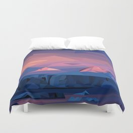Low Poly Mountain Sunset Duvet Cover