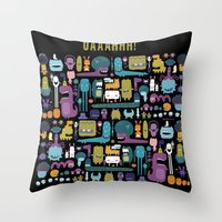 monsters Throw Pillows featuring MONSTERS by Piktorama