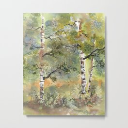 Spring Birch Forest, an original watercolor painting Metal Print