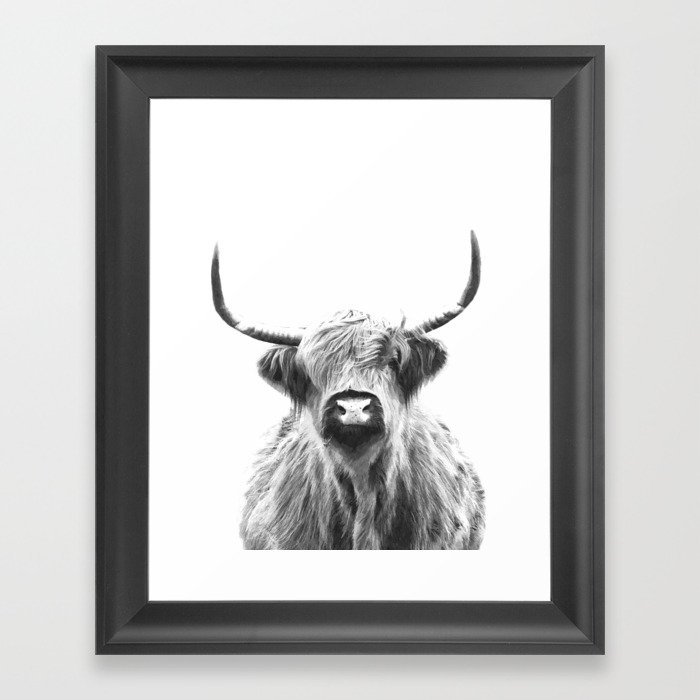 34b7de7ffe9 Black and White Highland Cow Portrait Framed Art Print by alemi ...