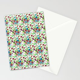 Bohemian modern pink blue green watercolor floral Stationery Cards