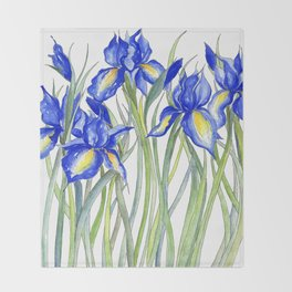 Blue Iris, Illustration Throw Blanket