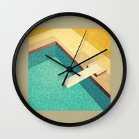 pool Wall Clocks featuring Pool by Herb Vaine