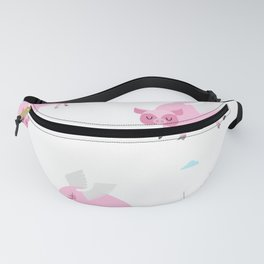 When Pigs Fly Funny Pink Flying Pig Art Print Fanny Pack