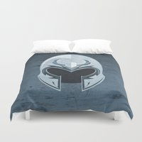 magneto Duvet Covers featuring Magneto helmet only by Tony Vazquez