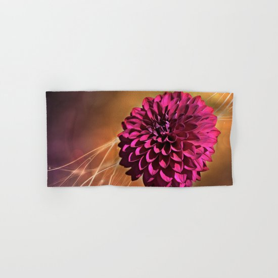 Red dahlia light effect Hand & Bath Towel