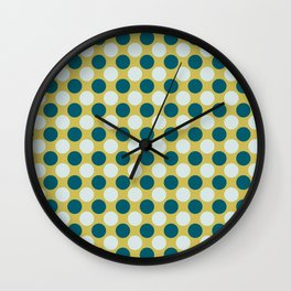 Pale Blue and Tropical Dark Teal Uniform Large Polka Dots on Dark Yellow Inspired by Sherwin Williams 2020 Trending Color Oceanside SW6496 Wall Clock
