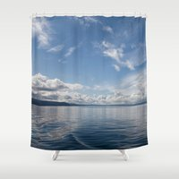 oslo Shower Curtains featuring Infinite: Oslo Harbor by Patti Toth McCormick