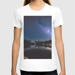 Summer Stars - Galaxy Mountain Reflection - Nature Photography T-shirt
