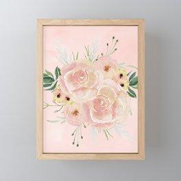 Wild Roses on Seashell Pink Watercolor Framed Mini Art Print