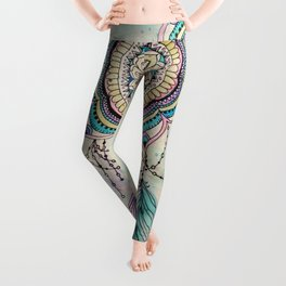 Modern tribal hand paint dreamcatcher mandala design Leggings