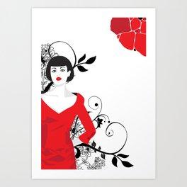 B&W+red Art Print