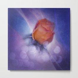 flowers on purple - orange rosebud Metal Print