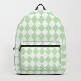 Spearmint Mint Green Modern Diamond Pattern on White Backpack