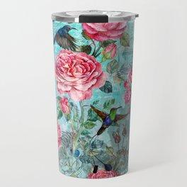 Vintage Watercolor hummingbird and English Roses Travel Mug