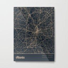 Atlanta United States City Map Metal Print