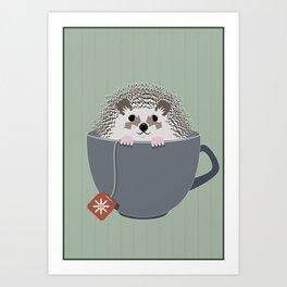 Holiday Tea Cup Hedgehog Art Print