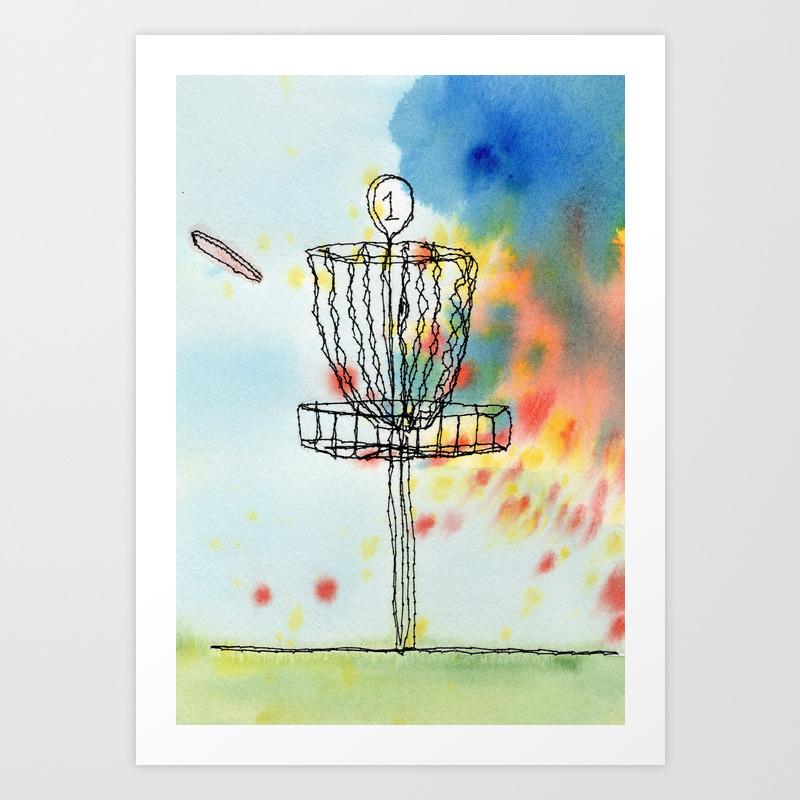 Disk Golf Basket Art Print By Nswyers Society6