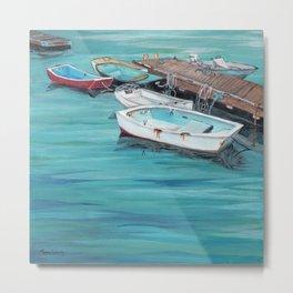 Dinghy Boats Ocean Dock Blue Sea Metal Print