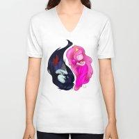 yin yang V-neck T-shirts featuring Yin+Yang by laPanny